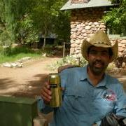 Brad enjoys his beer at Phantom Ranch. Worth packing it down North Kaibab!